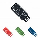 pic of usb flash drive  - Colored grunge icon set with image of USB flash drive - JPG