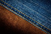 stock photo of stitches  - Jeans and corduroy textures with a stitch - JPG