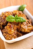 stock photo of lamb chops  - Lamb chops with onion stewed in gravy - JPG
