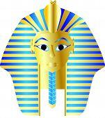 stock photo of pharaohs  - Egyptian style golden pharaoh portrait vector illustration - JPG