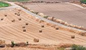 foto of hay bale  - Countryside agriculture farmland with golden hay bales after harvesting from the island of Cyprus - JPG