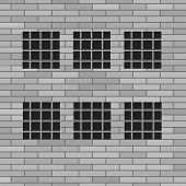 image of jail  - Prison Grey Brick Wall with Windows - JPG
