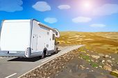 stock photo of camper  - Camper traveling on mountains road - JPG