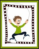picture of skipping rope  - Boy playing with the skipping rope card  - JPG