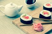 pic of soy sauce  - Sushi rolls with ginger - JPG