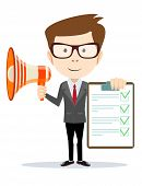 pic of motivation talk  - Businessman holding the document approved and talking into a megaphone  - JPG
