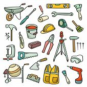 foto of hand-barrow  - Big cartoon set of operating tools - JPG