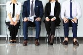 picture of competing  - Business people waiting for job interview - JPG