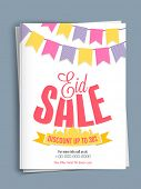 foto of eid ul adha  - Eid sale template or flyer presentation decorated with mosque ribbon and colorful buntings on shiny background - JPG