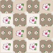 stock photo of azalea  - Patchwork seamless floral azalea pattern beige background with decorative elements - JPG