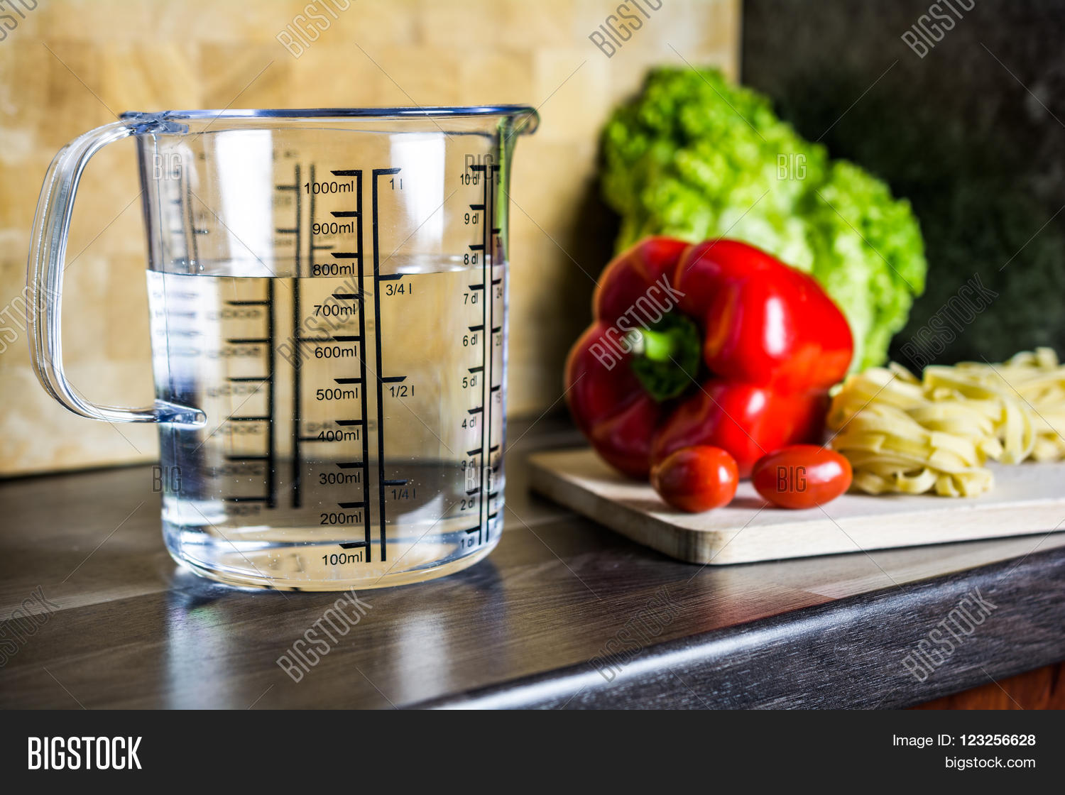 Kitchen Counter With Food 750Ccm  34 Liter  750Ml Water Image & Photo  Bigstock