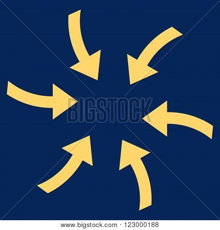 Twirl Arrows vector icon. Image style is flat twirl arrows icon symbol drawn with yellow color on a blue background.