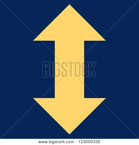 Vertical Exchange Arrows vector icon. Image style is flat vertical exchange arrows iconic symbol drawn with yellow color on a blue background.
