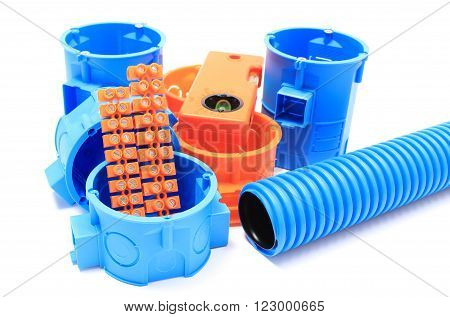 Electrical boxes and components for use in electrical installations, accessories for engineering jobs. White background