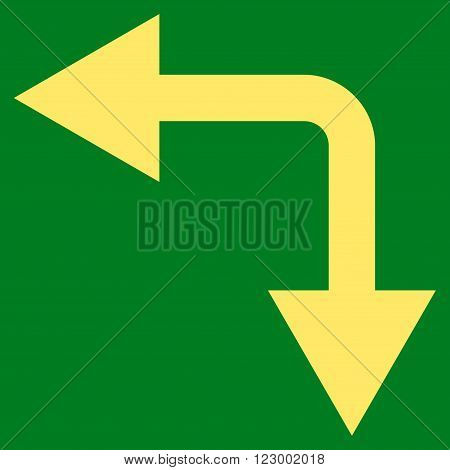 Bifurcation Arrow Left Down vector symbol. Image style is flat bifurcation arrow left down pictogram symbol drawn with yellow color on a green background.