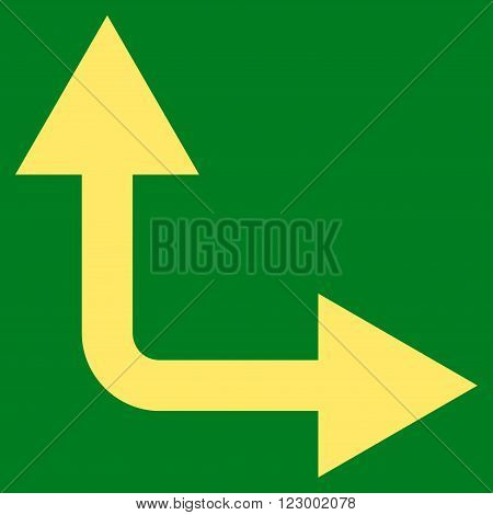 Bifurcation Arrow Right Up vector symbol. Image style is flat bifurcation arrow right up iconic symbol drawn with yellow color on a green background.