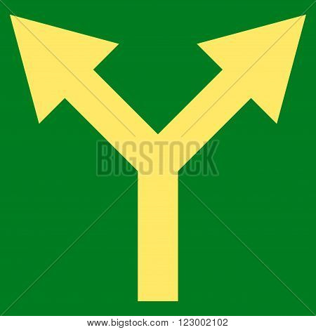 Bifurcation Arrow Up vector icon symbol. Image style is flat bifurcation arrow up iconic symbol drawn with yellow color on a green background.