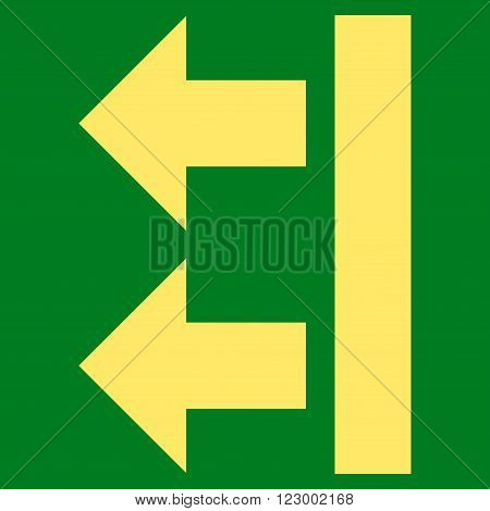 Bring Left vector pictogram. Image style is flat bring left iconic symbol drawn with yellow color on a green background.