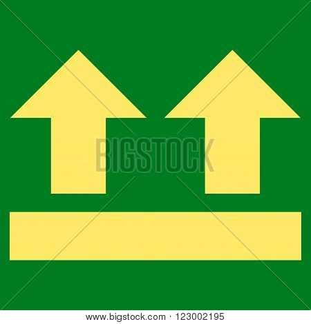 Bring Up vector icon. Image style is flat bring up icon symbol drawn with yellow color on a green background.