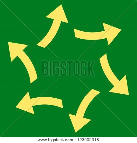 Centrifugal Arrows vector symbol. Image style is flat centrifugal arrows iconic symbol drawn with yellow color on a green background.