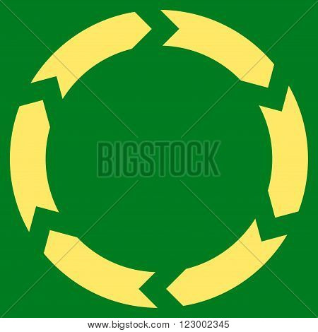 Circulation vector icon. Image style is flat circulation icon symbol drawn with yellow color on a green background.