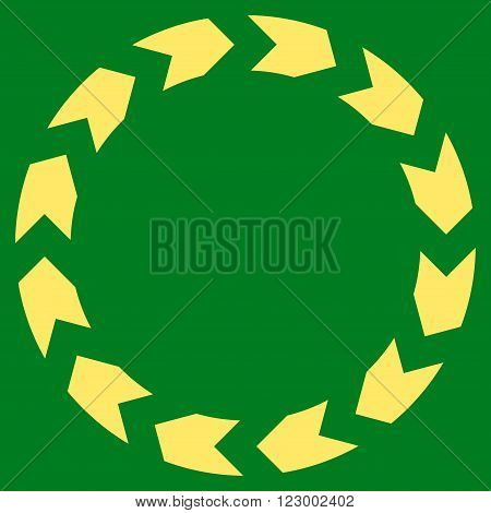 Circulation vector icon symbol. Image style is flat circulation pictogram symbol drawn with yellow color on a green background.