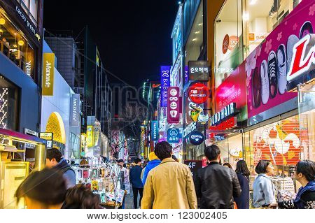 SEOUL - MARCH 20: Myeong-Dong Market is large shopping street in Seoul.Photo taken on March 20 2016 in seoul South Korea.