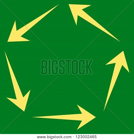 Circulation vector symbol. Image style is flat circulation pictogram symbol drawn with yellow color on a green background.