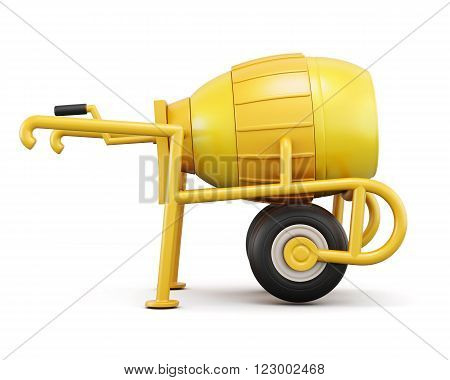Front view concrete mixer isolated on white background. 3d rendering.