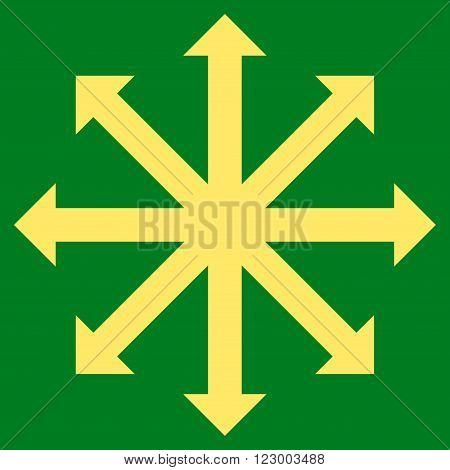 Expand Arrows vector symbol. Image style is flat expand arrows pictogram symbol drawn with yellow color on a green background.