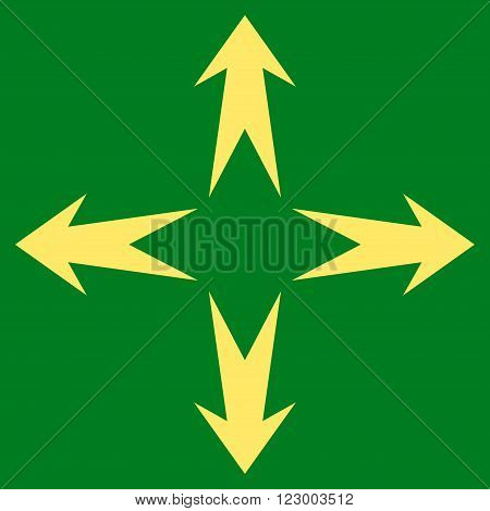 Expand Arrows vector pictogram. Image style is flat expand arrows iconic symbol drawn with yellow color on a green background.