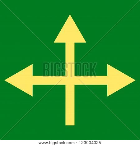 Intersection Directions vector icon. Image style is flat intersection directions pictogram symbol drawn with yellow color on a green background.