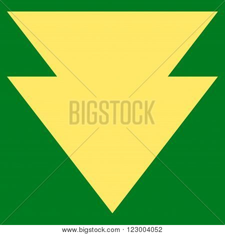 Move Down vector symbol. Image style is flat move down icon symbol drawn with yellow color on a green background.