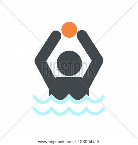 Water polo icon in flat style isolated on white background