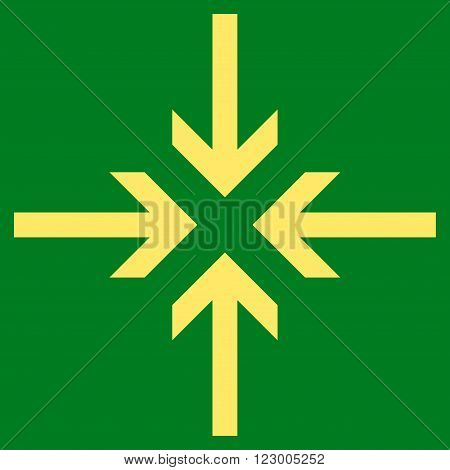 Reduce Arrows vector symbol. Image style is flat reduce arrows icon symbol drawn with yellow color on a green background.