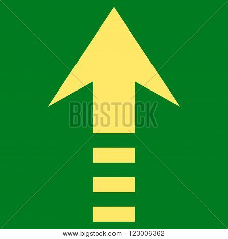 Send Up vector icon symbol. Image style is flat send up pictogram symbol drawn with yellow color on a green background.