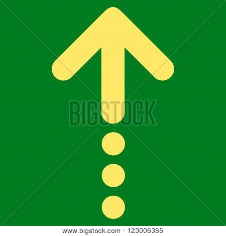 Send Up vector symbol. Image style is flat send up icon symbol drawn with yellow color on a green background.