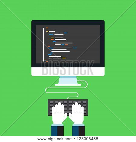 Programming and coding, Website development, Web design. Flat design modern vector illustration concept.