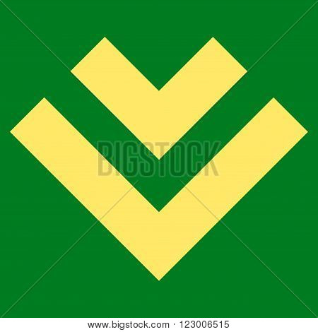 Shift Down vector icon. Image style is flat shift down pictogram symbol drawn with yellow color on a green background.