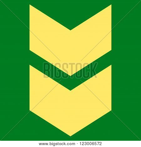 Shift Down vector pictogram. Image style is flat shift down pictogram symbol drawn with yellow color on a green background.