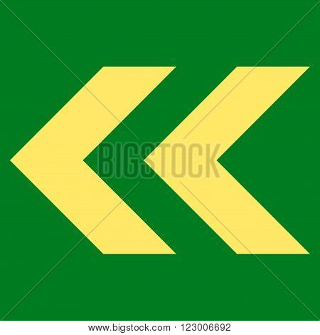 Shift Left vector icon. Image style is flat shift left icon symbol drawn with yellow color on a green background.