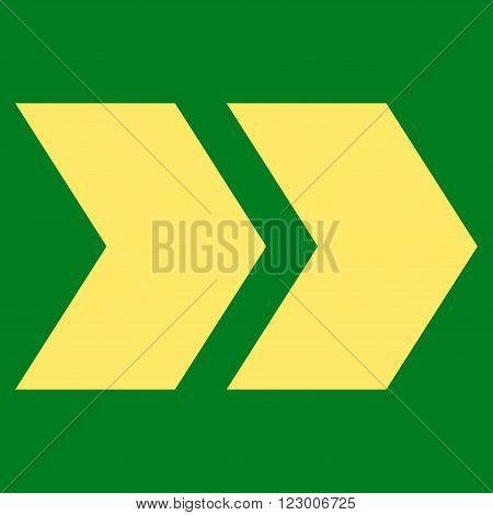 Shift Right vector pictogram. Image style is flat shift right icon symbol drawn with yellow color on a green background.