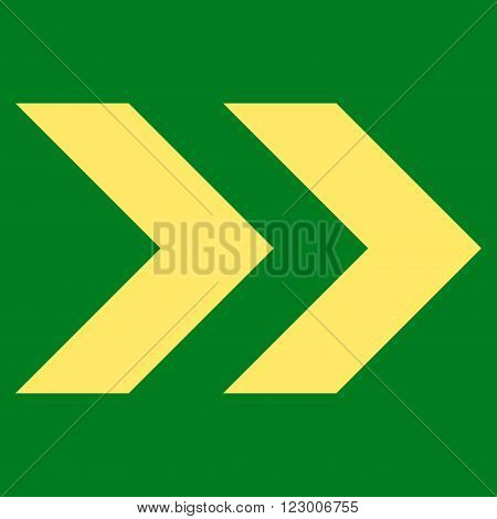 Shift Right vector pictogram. Image style is flat shift right pictogram symbol drawn with yellow color on a green background.