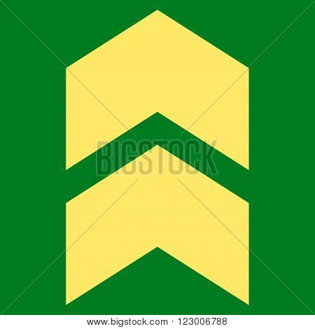 Shift Up vector pictogram. Image style is flat shift up iconic symbol drawn with yellow color on a green background.