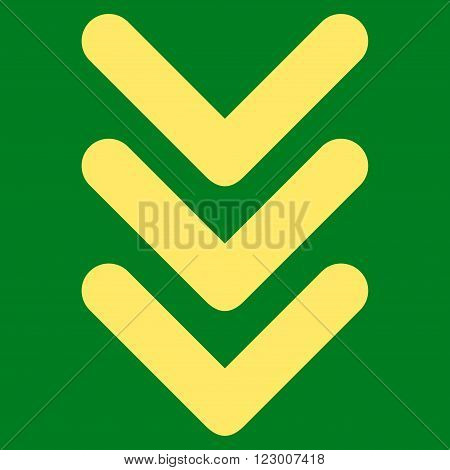 Triple Arrowhead Down vector icon. Image style is flat triple arrowhead down icon symbol drawn with yellow color on a green background.