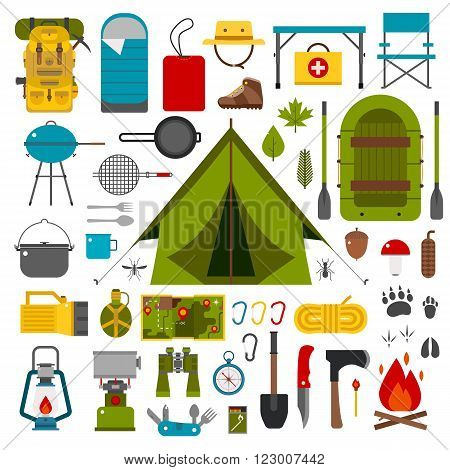 Camping icons collection. Camping kit of hike outdoor elements. Camping gear collection. Binoculars bowl barbecue boat lantern shoes hat tent and other camping tools and items. Vector on white