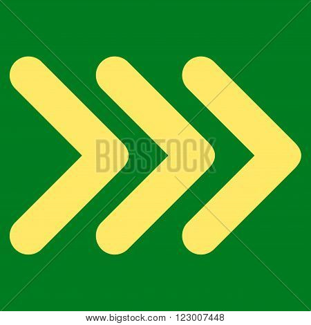 Triple Arrowhead Right vector icon symbol. Image style is flat triple arrowhead right pictogram symbol drawn with yellow color on a green background.