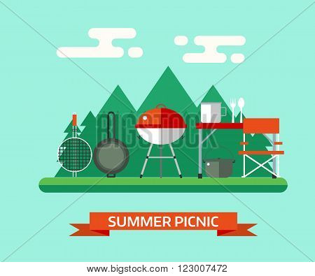Summer picnic landscape. Family barbecue vector background. Picnic tools. Grill pan brazier bowl fork spoon camping table and chair.