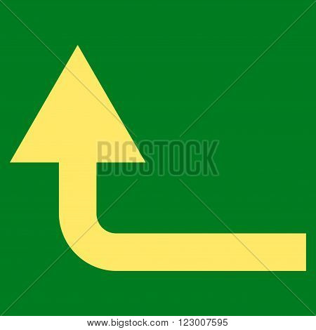 Turn Forward vector pictogram. Image style is flat turn forward icon symbol drawn with yellow color on a green background.