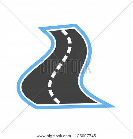 Road, landscape, drive icon vector image. Can also be used for maps navigation. Suitable for web apps, mobile apps and print media.